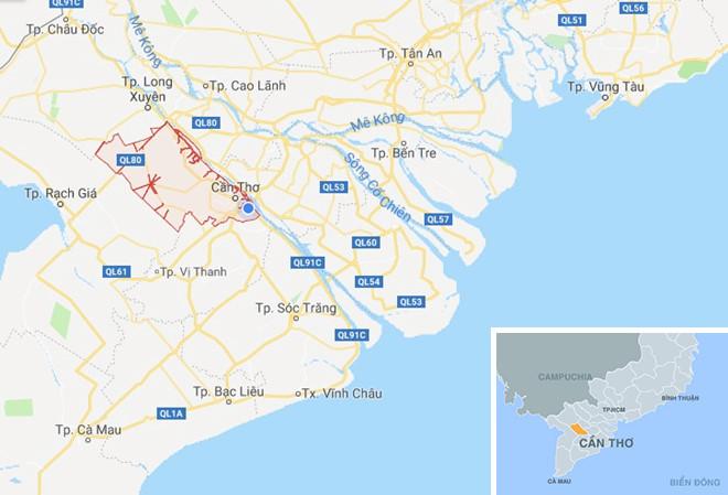 Cần Thơ, thành phố trung tâm của ĐBSCL. Ảnh:Google Maps.